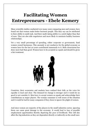 Facilitating Women Entrepreneurs - Ebele Kemery