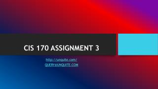 CIS 170 ASSIGNMENT 3