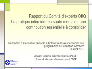 Rapport du Comit  d experts OIIQ La pratique infirmi re en sant  mentale : une contribution essentielle   consolider