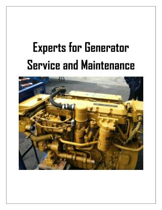 Experts for Generator Service ­ and Maintenance