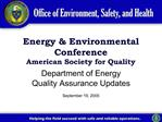 Energy  Environmental Conference American Society for Quality
