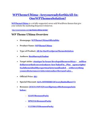 WP Theme Ultima review - WP Theme Ultima  100 bonus items