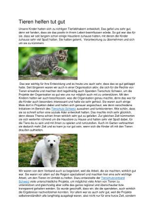 Tieren helfen tut gut
