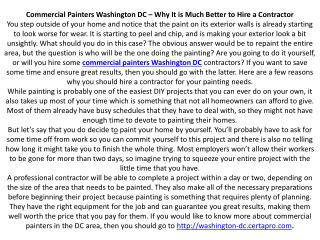 Commercial Painters Washington DC – Why It is Much Better to Hire a Contractor