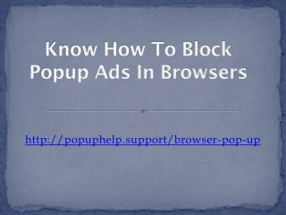 Know How To Block Popup Ads In Browsers