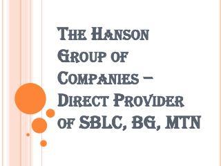 Direct Provider of SBLC, BG, MTN