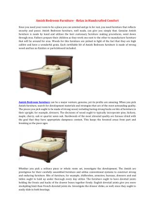 Amish Bedroom Furniture - Relax in Handcrafted Comfort