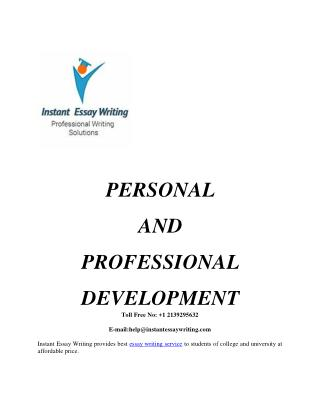 Personal And Professional Development Sample By Instant Essay Writing