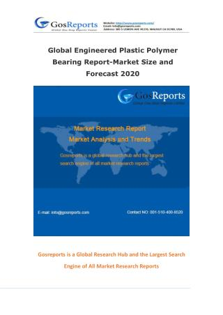 Global Engineered Plastic Polymer Bearing Report-Market Size and Forecast 2020