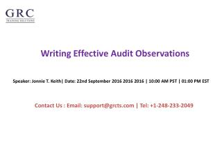 Writing Effective Audit Observations