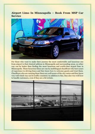Airport Limo In Minneapolis – Book From MSP Car Service