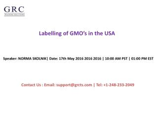 Labelling of GMO's in the USA