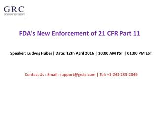 FDA's New Enforcement of 21 CFR Part 11
