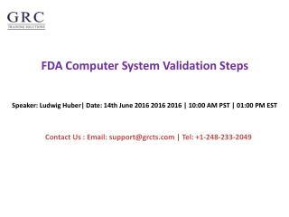 FDA Computer System Validation Steps