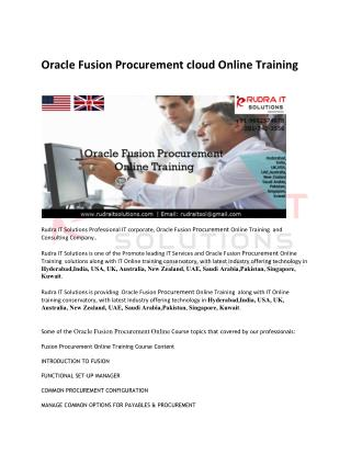 Oracle Fusion Procurement cloud Training in USA - rudraitsolutions