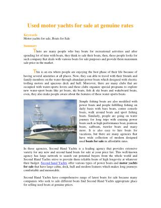 Used motor yachts for sale at genuine rates