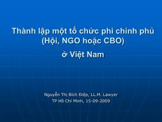Th nh lp mt t chc phi ch nh ph Hi, NGO hoc CBO  Vit Nam