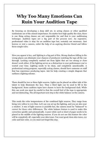 Why Too Many Emotions Can Ruin Your Audition Tape
