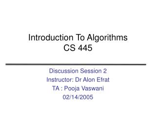 Introduction To Algorithms CS 445