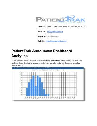 PatientTrak Announces Dashboard Analytics