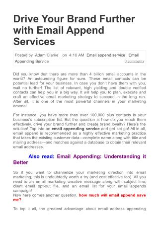Drive Your Brand Further with Email Append Services