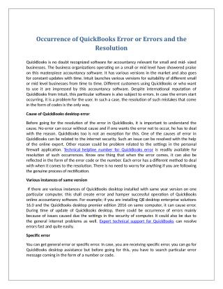 Occurrence of QuickBooks Error or Errors and the Resolution