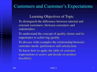 Customers and Customer s Expectations
