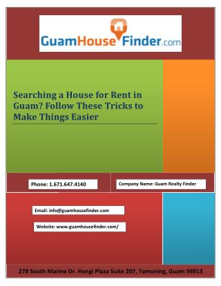 Searching a House for Rent in Guam? Follow These Tricks to Make Things Easier