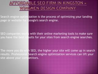 Wingmen Design Company - Affordable SEO Firm in Kingston