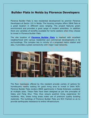 Builder Flats in Noida by Florence Developers