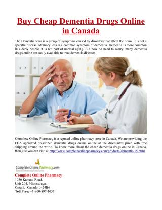Buy Cheap Dementia Drugs Online in Canada
