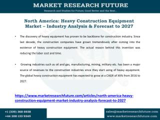 Heavy Construction Equipment Market – Industry Analysis & Forecast to 2027