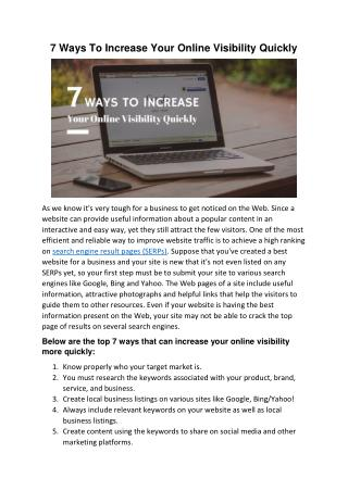 7 Ways To Increase Your Online Visibility Quickly