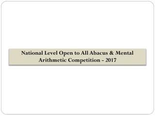 National Level Open to All Abacus & Mental Arithmetic Competition - 2017