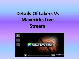 Details Of Lakers & Mavericks Live Stream