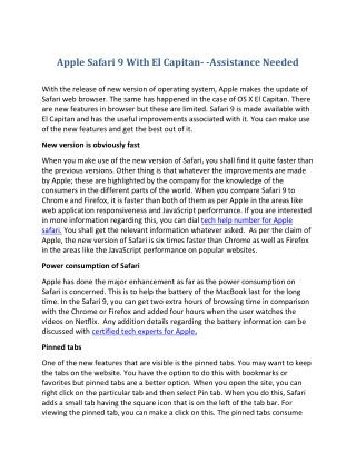 Apple Safari 9 With El Capitan- -Assistance Needed