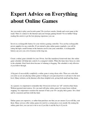 Helpful Tips about Online Games That Are Incredibly Easy To Follow