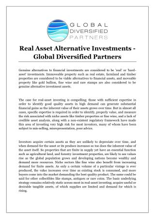 Real Asset Alternative Investments - Global Diversified Partners