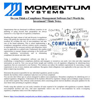Do you Think a Compliance Management Software Isn't Worth the Investment? Think Twice.