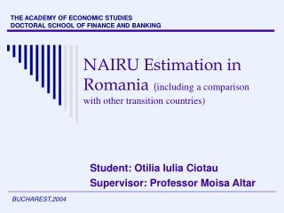 NAIRU Estimation in Romania including a comparison with other transition countries