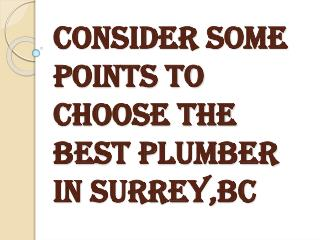 Think Before Choosing a Plumber in Surrey, BC