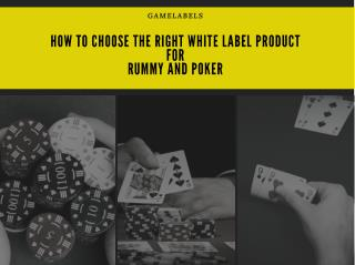 Choose the Right White label Product for RUMMY and POKER