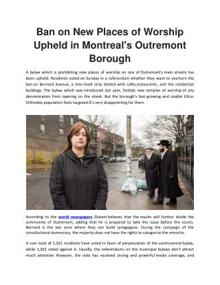 Ban on New Places of Worship Upheld in Montreal's Outremont