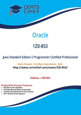 1Z0-853 Exam Certification Test