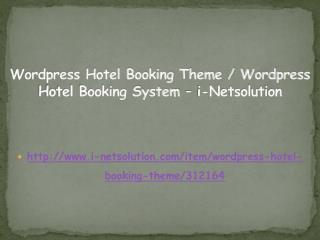 Wordpress Hotel Booking Theme / Wordpress Hotel Booking System – i-Netsolution