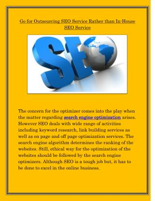 Go for outsourcing seo service rather than in house seo service
