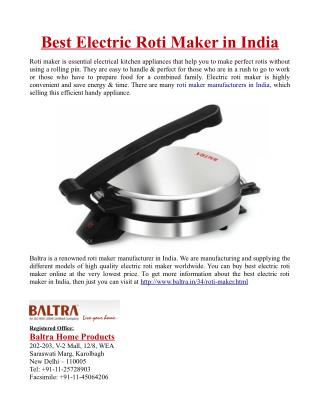 Best Electric Roti Maker in India