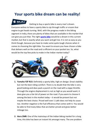 Your sports bike dream can be reality!
