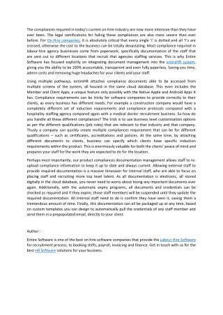 Compliance Management for Modern Labour Hire Businesses