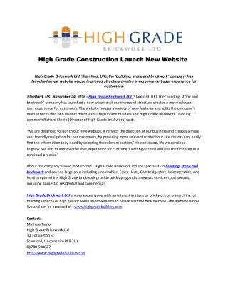 High Grade Construction Launch New Website